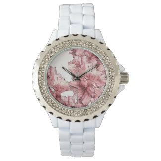 赤面およびピンクの図解入りの、写真付きのな花はセットをカスタマイズ 腕時計