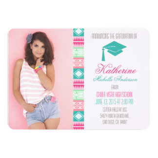 赤面のアステカな卒業の発表の招待状 12.7 X 17.8 インビテーションカード
