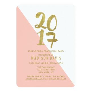 赤面のピンクおよび金ゴールド色のブロック|の卒業パーティー 12.7 X 17.8 インビテーションカード