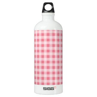 赤面のピンクのギンガム ウォーターボトル