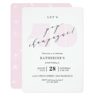 赤面のピンクのシャンペンの第40誕生会の招待 カード