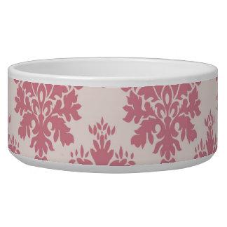 赤面のピンクのバラのダマスク織犬のペットボウル