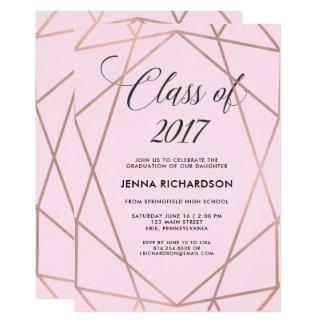 赤面のピンクの卒業で幾何学的なのどのばら色の金ゴールド カード