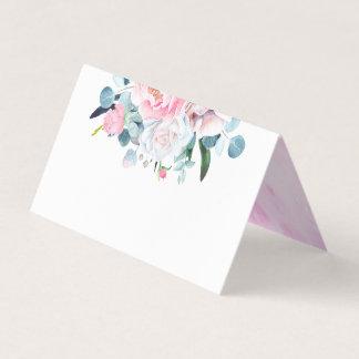 赤面のピンクの水彩画によってはエレガントな結婚式が開花します プレイスカード