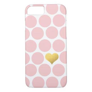 赤面のピンクの水玉模様の金ゴールドホイルのハート iPhone 8/7ケース