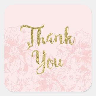 赤面のピンクの花および金ゴールドのグリッターは感謝していしています スクエアシール