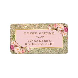赤面のピンクの花の金ゴールドのグリッターのきらめくな結婚式 ラベル