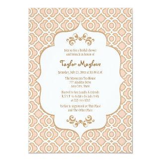 赤面のピンクの金ゴールドのモロッコのブライダルシャワーの招待 カード