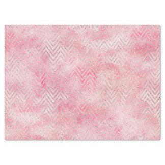 赤面のピンクの銀製の輝きのシェブロンの水彩画 薄葉紙