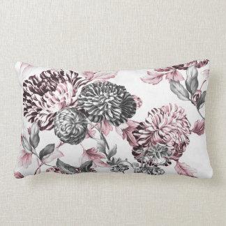 赤面のピンクの黒く及び白い植物のToile ランバークッション