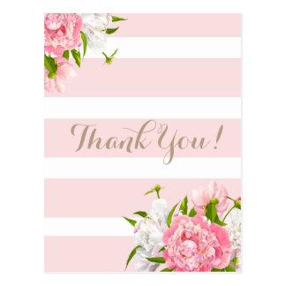 赤面のピンクのPeonieの花柄は郵便はがき感謝していしています ポストカード