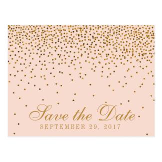 赤面のピンク及び金ゴールドの紙吹雪の結婚式の保存日付 ポストカード