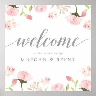 赤面のピンク及び銀製の花の結婚式の喜ばしい徴候 ポスター
