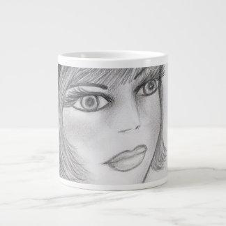 赤面のフラッパーの女の子 ジャンボコーヒーマグカップ