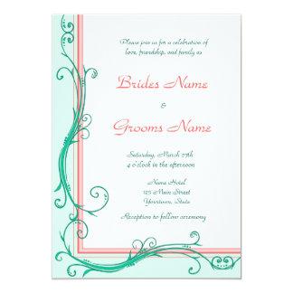 赤面のモモ及びミントの結婚式招待状 12.7 X 17.8 インビテーションカード