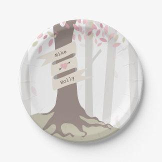 赤面の森林結婚式 ペーパープレート スモール