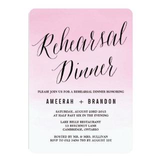 赤面の水彩画のグラデーションなリハーサルの夕食の招待状 カード