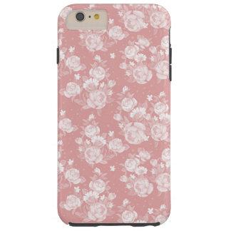 赤面の珊瑚の白いbohoのヴィンテージのエレガントな花柄 tough iPhone 6 plus ケース