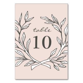 赤面の素朴なリースの結婚披露宴のテーブル数 カード