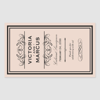 赤面の結婚式のワイン・ボトルのモノグラムの好意のラベル 長方形シール