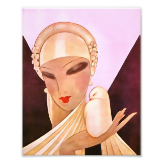 赤面の花嫁のヴィンテージのアールデコのイラストレーション フォトプリント