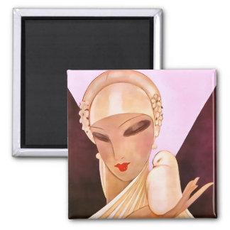 赤面の花嫁のヴィンテージのアールデコの絵 マグネット