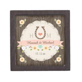 赤面の蹄鉄のハートの西部の結婚式の記念品箱 ギフトボックス