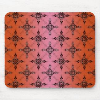 赤面の鮮やかなオレンジダマスク織パターン マウスパッド