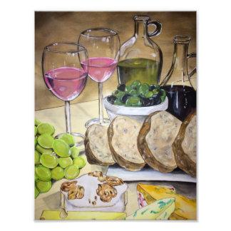 赤面ワインおよびチーズプリント フォトプリント