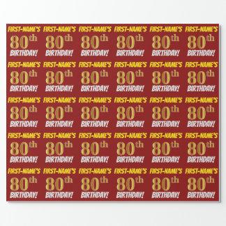 """赤、のどまたは模造金ゴールド、""""第80誕生日"""" ラッピングペーパー"""