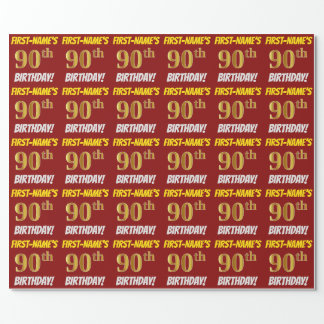 """赤、のどまたは模造金ゴールド、""""第90誕生日"""" ラッピングペーパー"""