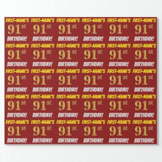 """赤、のどまたは模造金ゴールド、""""第91誕生日"""" ラッピングペーパー"""