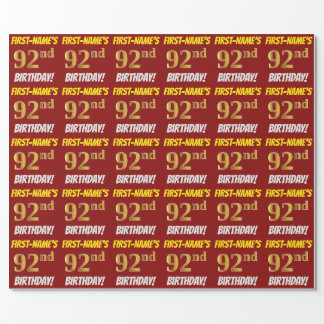 """赤、のどまたは模造金ゴールド、""""第92誕生日"""" ラッピングペーパー"""