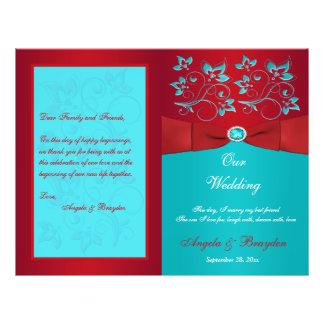 赤、ターコイズの花柄の結婚式プログラム チラシ