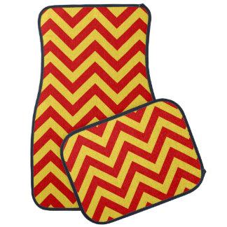 赤、パイナップル大きいシェブロンのジグザグパターン カーマット