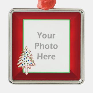 赤(写真フレーム)のクリスマスツリー メタルオーナメント