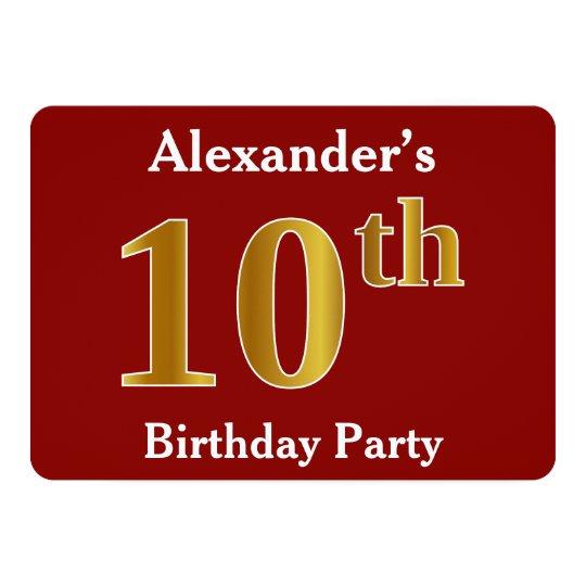 赤、模造のな金ゴールドの第10誕生会 + 名前をカスタムする 12.7 X 17.8 インビテーションカード