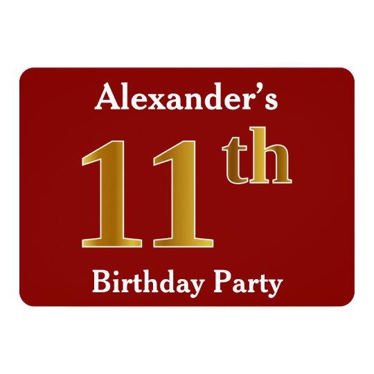赤、模造のな金ゴールドの第11誕生会 + 名前をカスタムする 12.7 X 17.8 インビテーションカード