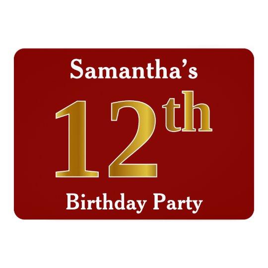 赤、模造のな金ゴールドの第12誕生会 + 名前をカスタムする 12.7 X 17.8 インビテーションカード