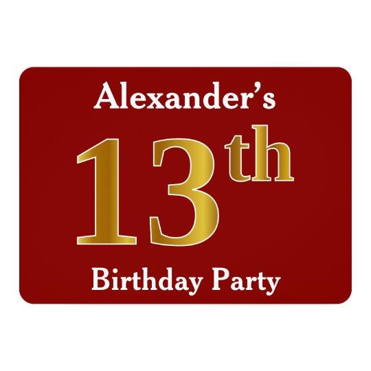 赤、模造のな金ゴールドの第13誕生会 + 名前をカスタムする カード