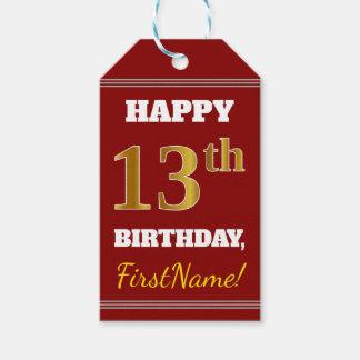 赤、模造のな金ゴールドの第13誕生日 + 名前をカスタムする ギフトタグ