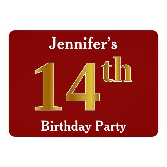 赤、模造のな金ゴールドの第14誕生会 + 名前をカスタムする カード