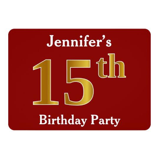 赤、模造のな金ゴールドの第15誕生会 + 名前をカスタムする 12.7 X 17.8 インビテーションカード