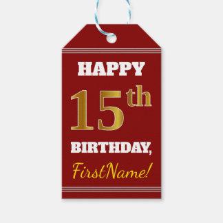 赤、模造のな金ゴールドの第15誕生日 + 名前をカスタムする ギフトタグ