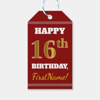 赤、模造のな金ゴールドの第16誕生日 + 名前をカスタムする ギフトタグ
