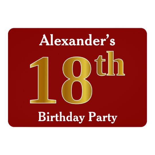 赤、模造のな金ゴールドの第18誕生会 + 名前をカスタムする カード