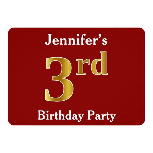 赤、模造のな金ゴールドの第3誕生会 + 名前をカスタムする 12.7 X 17.8 インビテーションカード