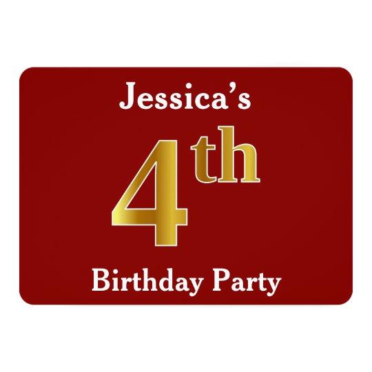 赤、模造のな金ゴールドの第4誕生会 + 名前をカスタムする 12.7 X 17.8 インビテーションカード