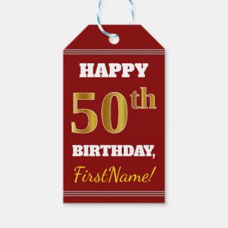 赤、模造のな金ゴールドの第50誕生日 + 名前をカスタムする ギフトタグ