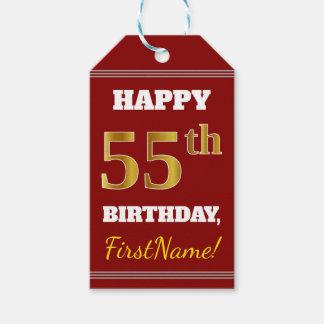 赤、模造のな金ゴールドの第55誕生日 + 名前をカスタムする ギフトタグ